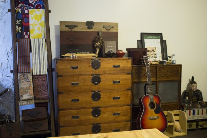 A tansu on display in the cafe
