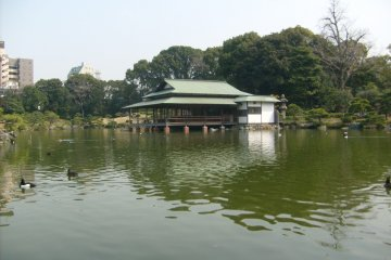 <p>The view across the pond to the Ryotei</p>