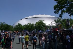Fans and vendors milling in front of the Seibu Dome