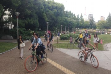 <p>Utsubo Park dominated by cyclists.</p>