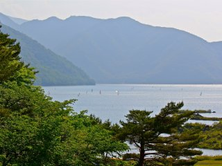 Lake Motosu is a very popular site for the outdoorsmen. Here you can see the lake full of wind surfers.