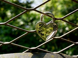 This lovers' padlock on a fence reminds me of the Pont des Arts Bridge in Paris
