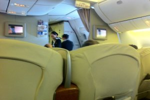 Super Spacious Seats in a 2-2-2 configuration on the Boeing 777