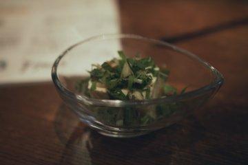 <p>Even the tofu here wears foliage</p>