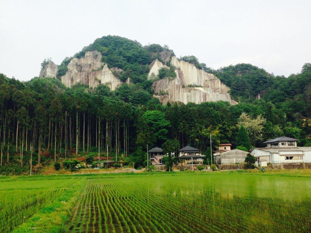 Rock mining on the backside of Iwayama