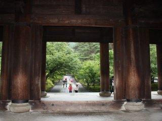 南禅寺にある江戸時代建築の重要文化財建造物、「三門」。寛永5(1628)年、藤堂高虎が大坂夏の陣で戦死した家臣の菩提を弔うため寄進したと伝えられる。