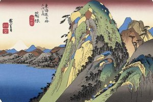 Hiroshige's ukiyoe showing the Hakone Pass