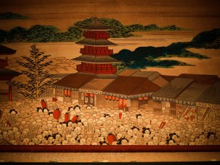 The stage curtain featuring traditional Japanese art