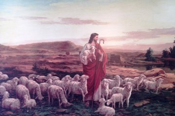 <p>A mural that takes its inspiration from the parable of the lost sheep</p>