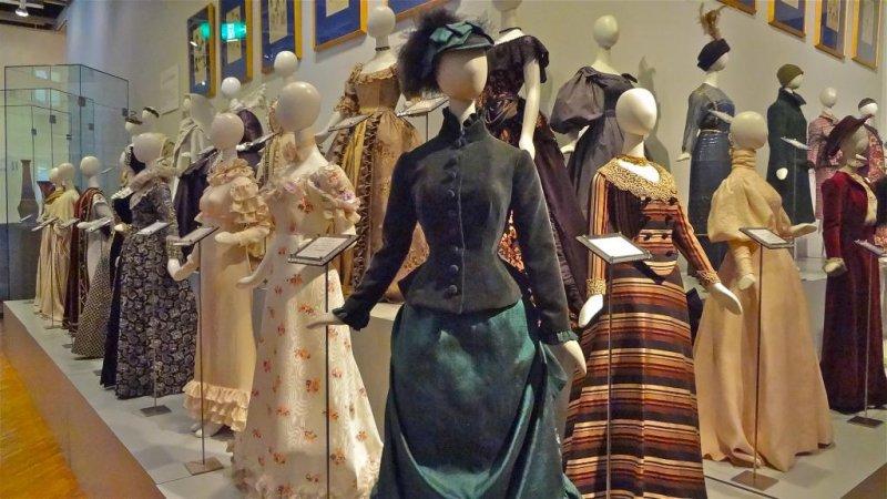 Museum display of 19th Century European dresses