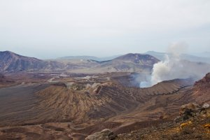 The volcanic desert including fuming Naka-dake