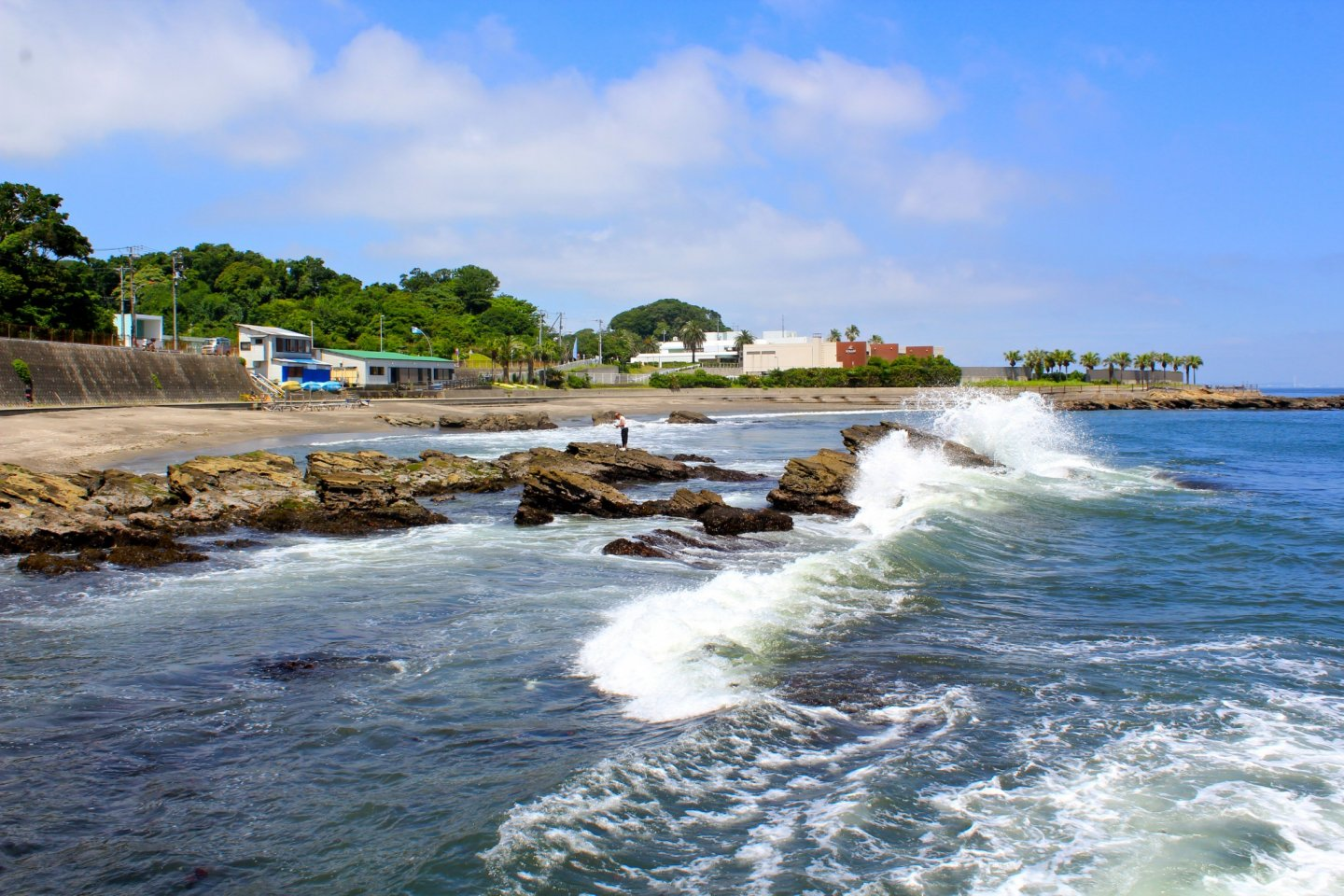 Watch the waves crash along the natural rock formations on the north end of Kannonzaki Beach in Yokosuka