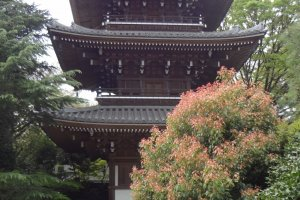 A three-story pagoda on the left quietly stands between groves of trees. It is 4 meters around and 22 meters high.