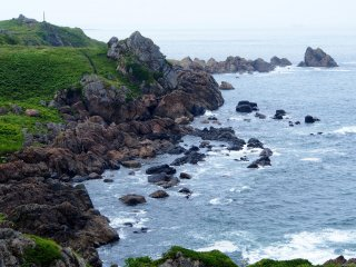 From the lookout, you can see the rugged, rocky coastline