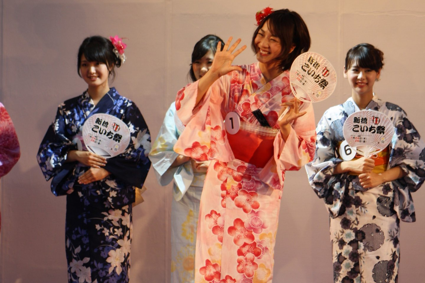 The yukata beauty contest begins on the main stage at SL Plaza