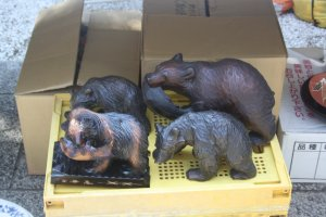 Wooden bear carvings