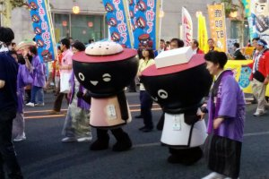 The Morioka mascots were out to greet the crowd