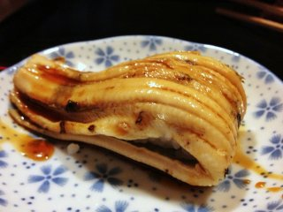 Delicious anago sushi ~ The difference between unagi and anago lies in the former being a fresh-water eel while the latter is a salt-water eel!