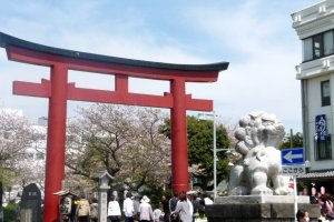Entrance to the dankazura -- Torii and lion dog guardians