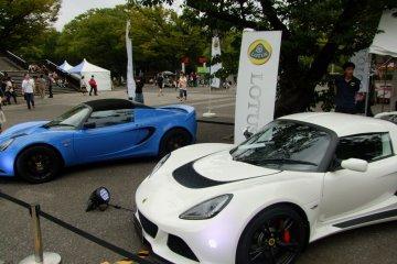 <p>Lotus showcasing their sports cars</p>