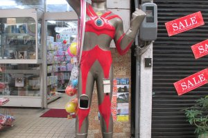 A robot statue on Onomichi's shopping street