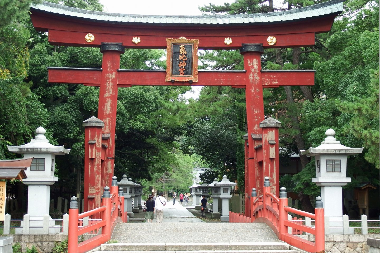 Main torii gate of Kehi Jingu Shrine. This is the third tallest wooden torii in Japan and an important cultural property