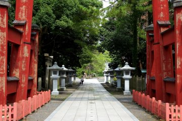 <p>Entering the torii gate and walking to the main shrine buildings</p>