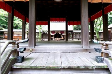 <p>Looking at the prayer altar through the Noh stage</p>