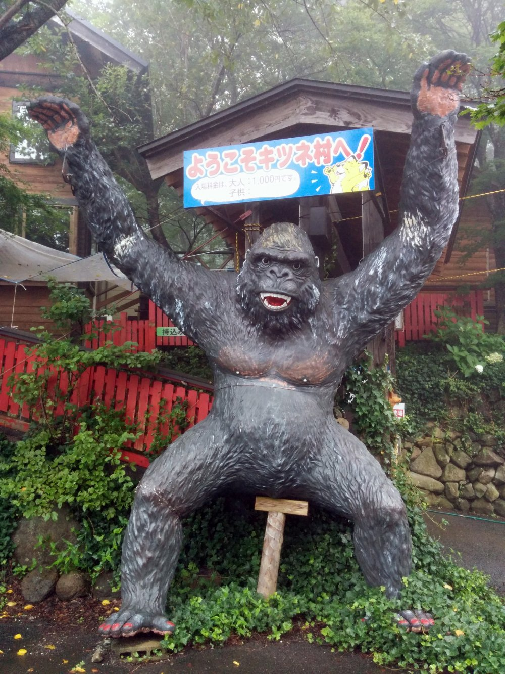 "You're at the right place when you see the gorilla marking the entrance to ""Fox Village"""