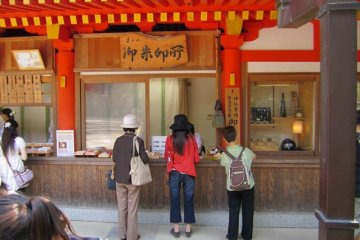 <p>People lining up to get their stamp outside a temple in Nara</p>