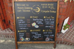 The menu outside the cafe
