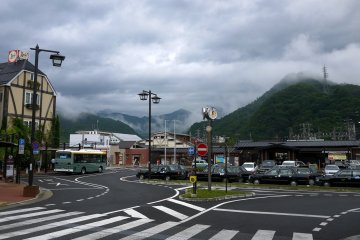 <p>Low cloud made the hills around Otsuki look mysterious and moody</p>