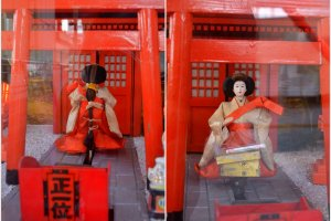 Omikuji at Odaiba, Tokyo. This geisha-looking figure went into the shrine to retrieve myOmikuji.