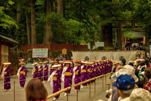 Archers being presented to the spectators and members of the Tokugawa family before the contest begins