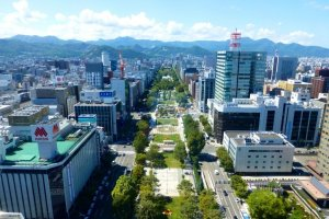 The beautiful view out to Odori Park and beyond from the observatory of the Sapporo Tower