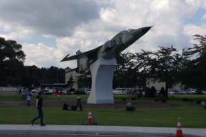 Actual jet mounted as a statue