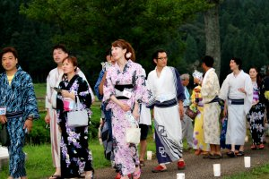 Young men and women in Yukata...there was a match-making event and wearing Yukata was a rule they had to follow in order to participate