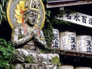This is a statue of Dainichi Nyorai, a central deity within Mikkyo, or esoteric Buddhism. He is found here seated on lotus petals with his hands forming a mudrā​, or ritual hand gesture.
