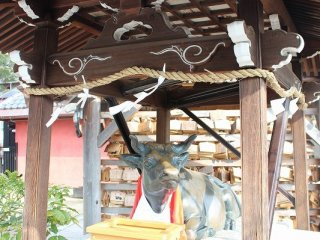 菅原道真公の亡骸を載せた荷車を引いた牛は道真公の守護者として祀られている