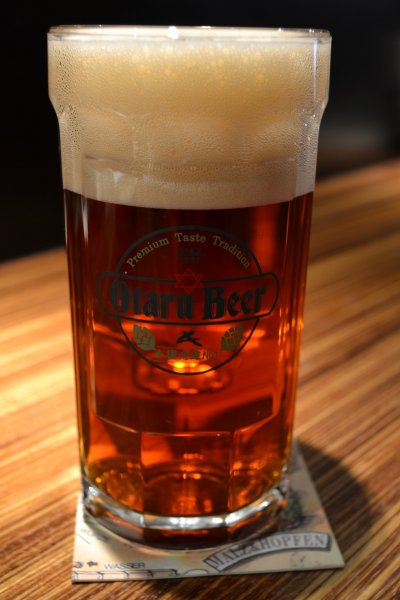 A 500ml glass of Dunkel at Otaru Beer\'s Leibspeise in Sapporo