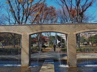 Salah satu kolam dengan hiasan air yang cukup cantik di taman ini