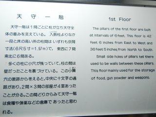 Penjelasan mengenai penggunaan lantai satu di kastil Matsumoto, tersedia dalam bahasa Jepang dan Inggris.