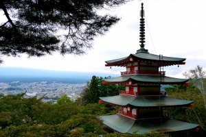 Chureito Pagoda in Fujiyoshida has a well known view of Mount Fuji when the weather is clear.