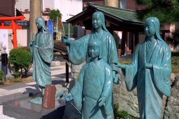 <p>Bronze statues of the three sisters and their beautiful yet sad mother, whose eyes are downcast reflecting her sad fate</p>