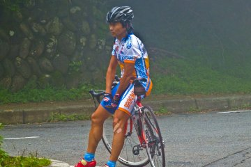<p>One of many cyclists I saw along `Yabitsu-toge`. Surprisingly, these long winding mountain roads are a very popular destination for cyclists during the weekends</p>