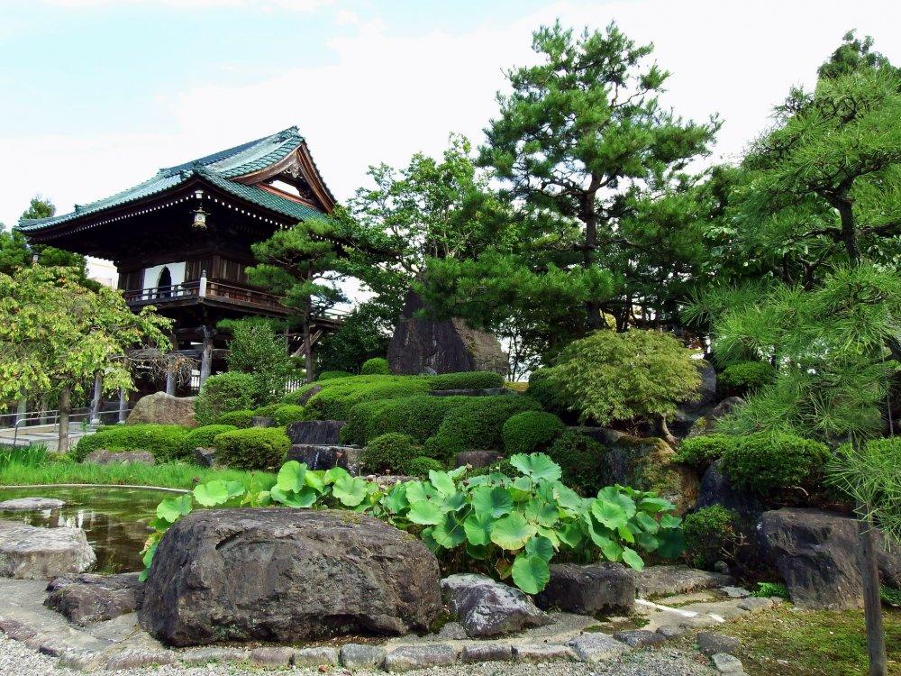 聖玄寺山門と境内の日本庭園