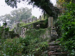 The cemeteries sit on a slope behind the temples.