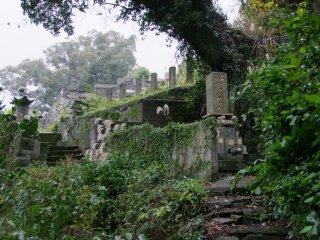 사원 뒤 경사진 언덕에 있는 무덤