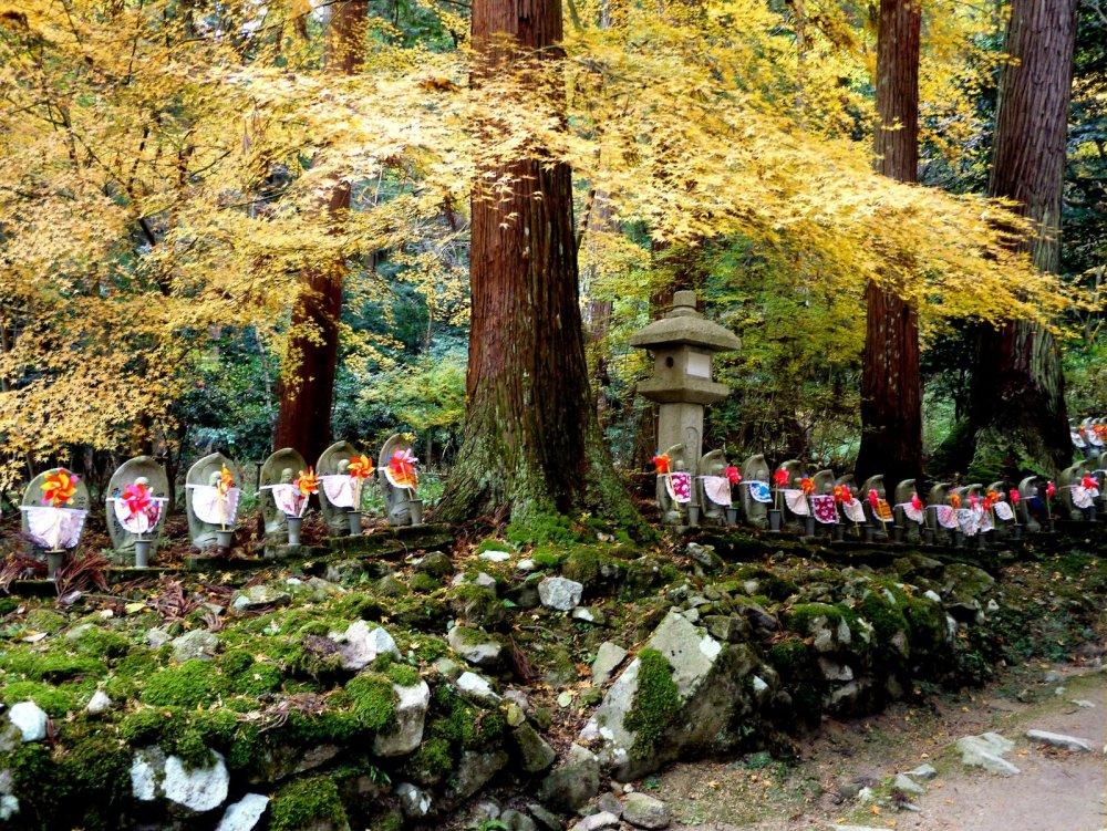 Những lá phong vàng trải dài trên bức tượng như đang ban phước lành