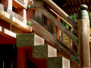 Ornate metal plates protect the wood from invading insects